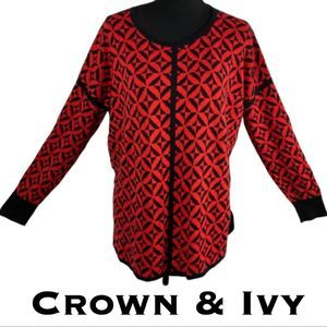 Crown & Ivy Red Tunic Sweater Size L